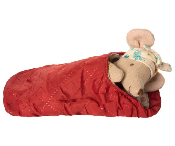 Hiking mouse big sister in sleeping bag